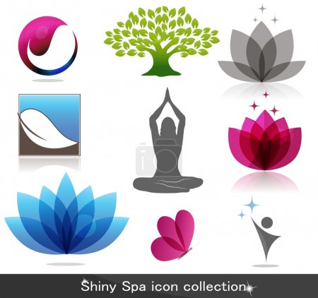 Illustration for Beautiful spa icon collection. Beautiful harmonic colors, can be used as company logo. - Royalty Free Image