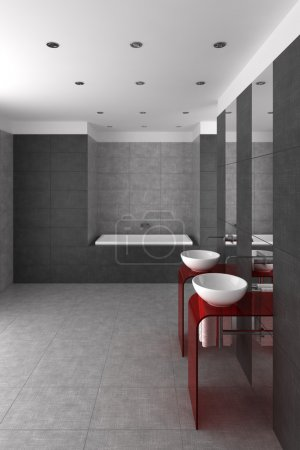 Tiled bathroom with double basin and bathtub