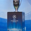 UEFA Champions League trophy on a blue background...