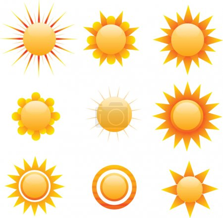 Multiple stylized sun graphics, vector
