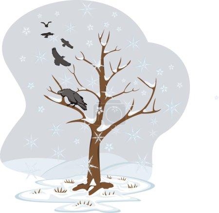 Circling ravens, falling snowflakes, hard weather,...