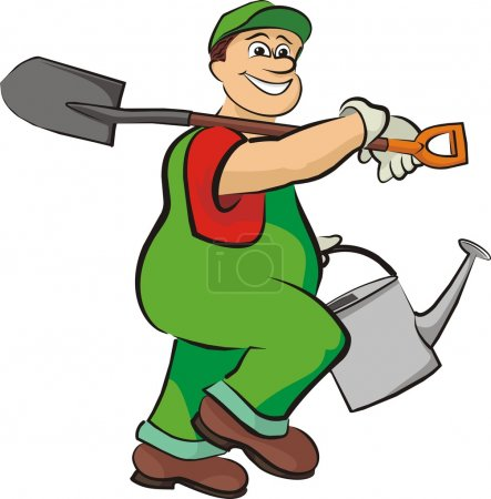 Smiling gardener - in working clothes