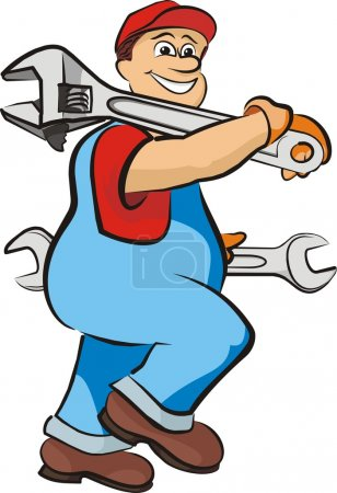 Smiling mechanic - in working clothes