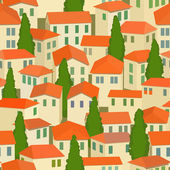 Seamless old town with red roof and cypress tree