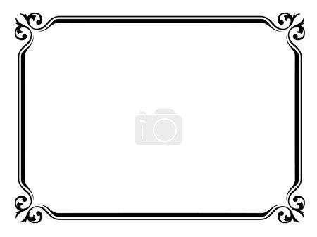 Illustration pour Modèle de cadre décoratif décoratif simple calligraphe vectoriel - image libre de droit