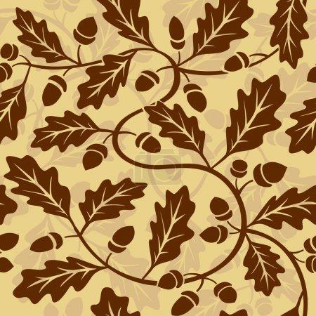 Illustration pour Vecteur feuille de chêne glands motif de fond sans couture - image libre de droit