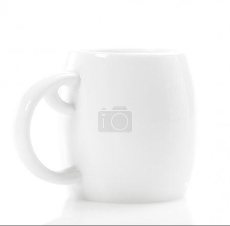 Photo for White espresso coffee cup on isolated white background, shallow dof - Royalty Free Image