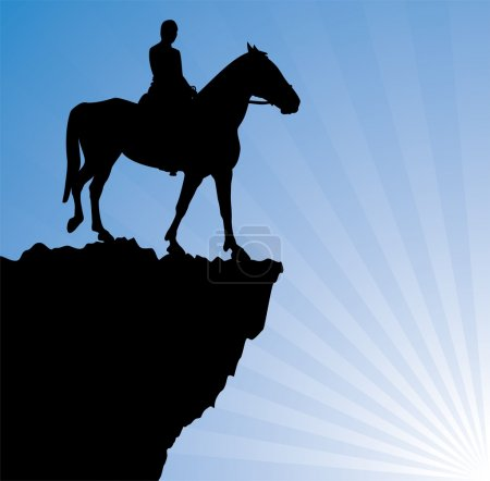 Illustration for Vector illustration of man on the horse on top of the mountain - Royalty Free Image