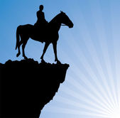 Vector illustration of man on the horse on top of the mountain