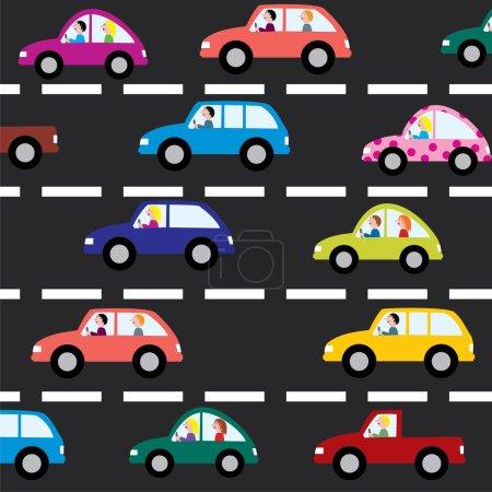 Illustration pour Voitures vectorielles sur la route - image libre de droit