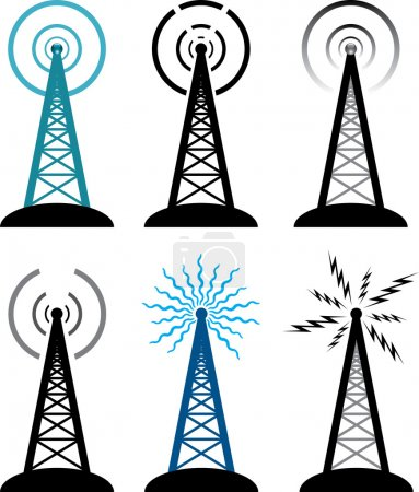 Vector radio tower symbols