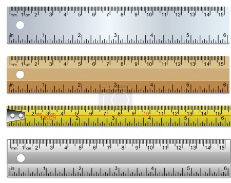 Vector set of rulers and measuring tape