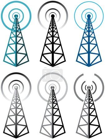 Illustration for Vector set of radio tower symbols - Royalty Free Image