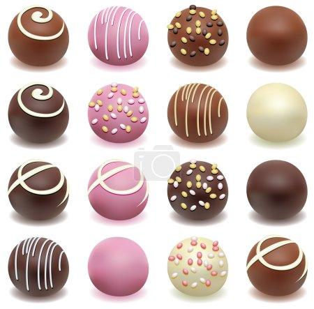 Illustration pour Bonbons vectoriels au chocolat - image libre de droit
