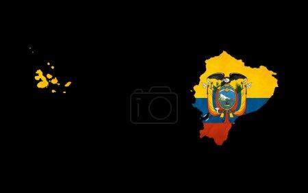 Photo pour Carte contour de l'Équateur isolée sur fond noir avec effet grunge drapeau insérer - image libre de droit