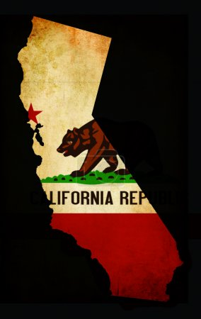 USA American California State Map outline with grunge effect fla