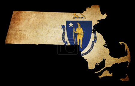 Photo pour État américain massachussetts USA carte contour avec effet grunge drapeau insérer - image libre de droit
