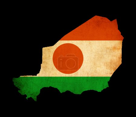 Photo for Outline map of Niger with flag and grunge paper effect - Royalty Free Image