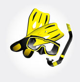 Fins scuba mask and snorkel