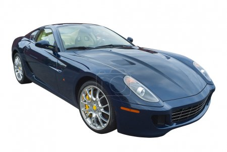 Sports car in dark blue, isolated