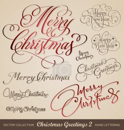 Christmas greetings hand lettering set (vector)