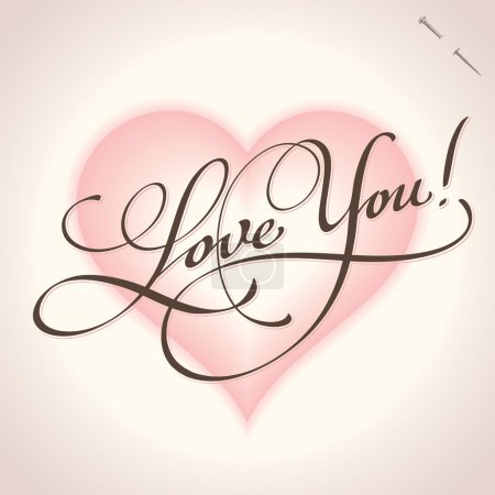 Illustration for 'Love you' hand lettering - handmade calligraphy; scalable and editable vector illustration (eps8); - Royalty Free Image