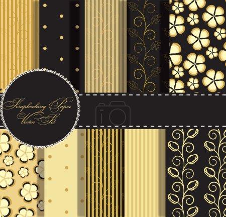 Set aus wunderschönem Gold und schwarzem Papier für Sammelalbum