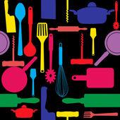 Bezešvé vzor kuchyňské nářadí