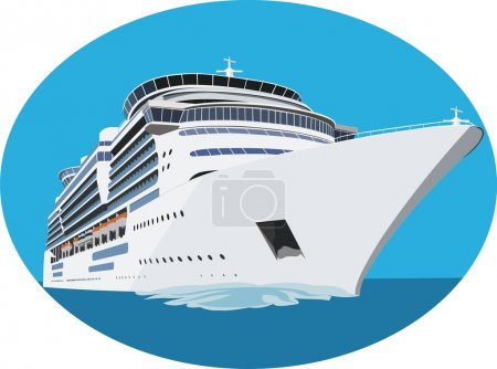 Illustration for White cruise ship in vector - Royalty Free Image