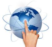 Finger touching globe Vector