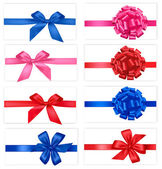 Big collection of color gift bows with ribbons Vector