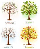Four seasons - spring summer autumn winter Art tree beautiful for your design Vector illustration