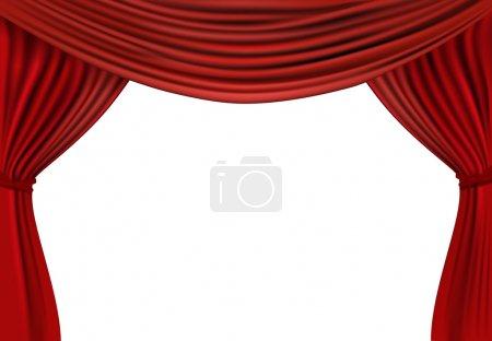 Illustration pour Fond avec rideau de velours rouge. Illustration vectorielle . - image libre de droit