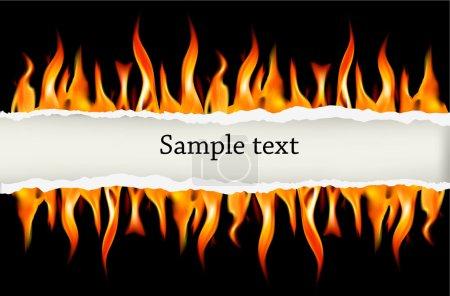 Illustration pour Flamme de feu sur fond noir. Illustration vectorielle . - image libre de droit