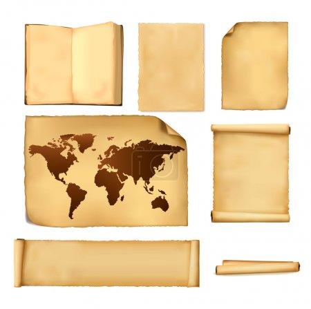 Illustration pour Ensemble de vieilles feuilles de papier et ancienne carte. Vecteur . - image libre de droit