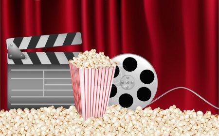 Illustration pour Fond vectoriel avec des éléments liés au cinéma - image libre de droit
