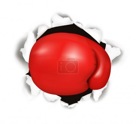 Red boxing glove. Conceptual vector illustration.