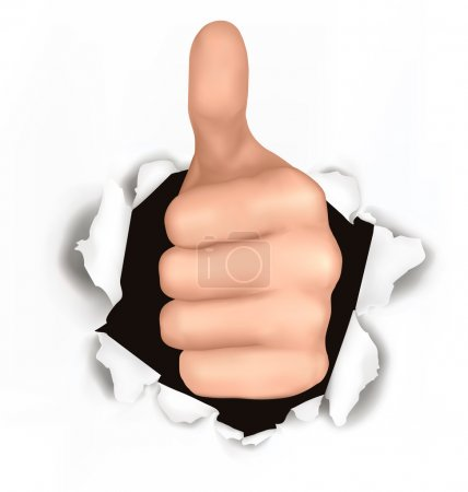Illustration for Conceptual illustration of thumb up. Hand with thumb up has broken through a paper - Royalty Free Image
