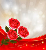 Valentine`s day background Red rose with gift red ribbons Vector illustra
