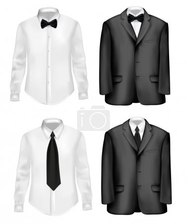 Black suit and white shirts with neckties.