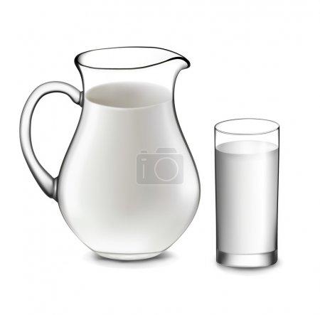 Milk jug and glass of milk. Vector...
