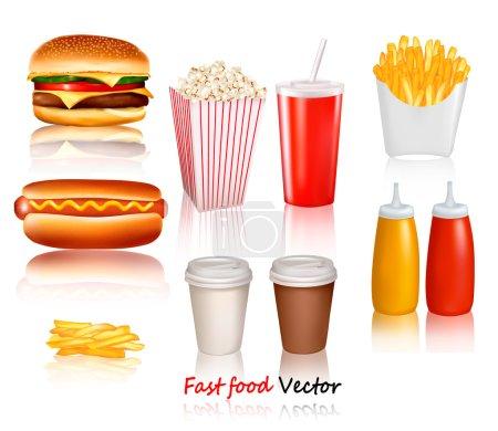 Illustration pour Grand groupe de produits de restauration rapide. Illustration vectorielle - image libre de droit