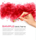 Abstract watercolor background with hand Vector illustration
