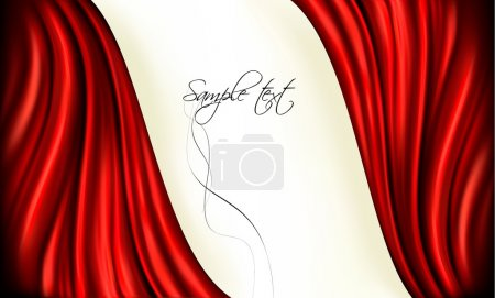 Illustration for Brightly lit red curtain background. Vector illustration. - Royalty Free Image