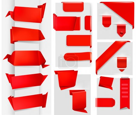 Illustration for Huge set of red origami paper banners and stickers - Royalty Free Image