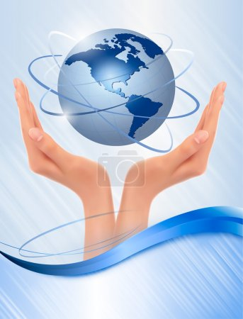 Background with hands holding globe Vector...