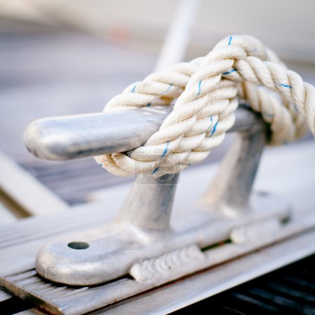 Steel anchor on boat or ship.