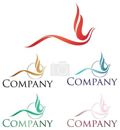 Elegant logo design, stylized firebird or phoenix