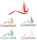 Elegant logo design stylized firebird or phoenix