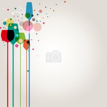 Illustration pour Une belle composition de verres à boissons alcoolisées avec espace de copie - image libre de droit
